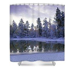 Pond And Fresh Snowfall, Near 70 Mile Shower Curtain by David Nunuk