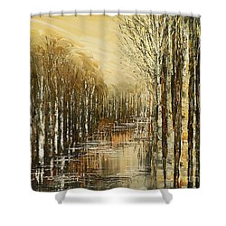 Shower Curtain featuring the painting Pond Security by Tatiana Iliina