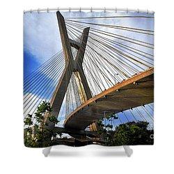 Ponte Estaiada Octavio Frias De Oliveira Ao Cair Da Tarde Shower Curtain