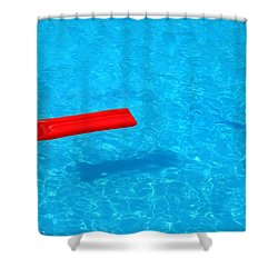 Pool - Blue Water And Red Inflatable Mattress Shower Curtain by Matthias Hauser