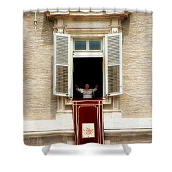 Pope Benedict Xvi A Shower Curtain by Andrew Fare