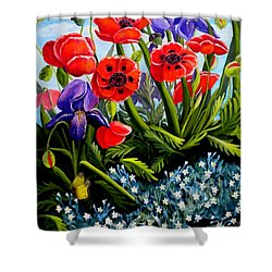 Poppies And Irises Shower Curtain by Renate Nadi Wesley