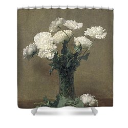 Poppies Shower Curtain by Ignace Henri Jean Fantin-Latour