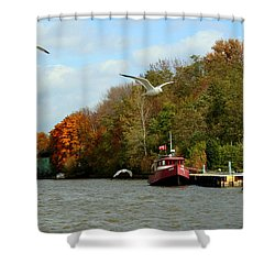 Shower Curtain featuring the photograph Port Dover Harbour by Barbara McMahon