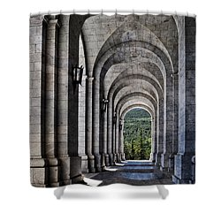 Portico From The Valley Of The Fallen Shower Curtain by Mary Machare