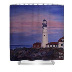 Shower Curtain featuring the painting Portland Head Lighthouse At Dawn by Julie Brugh Riffey