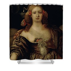 Portrait Of A Young Woman  Shower Curtain by Girolamo Forabosco