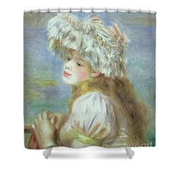 Portrait Of A Young Woman In A Lace Hat Shower Curtain by Pierre Auguste  Renoir