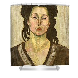 Portrait Of Jeanne Cerani Shower Curtain by  Ferdinand Hodler
