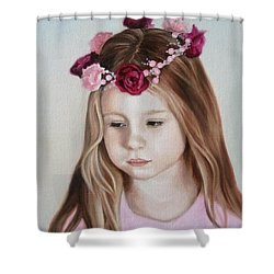 Shower Curtain featuring the painting Portrait Of Kristinka by Jindra Noewi