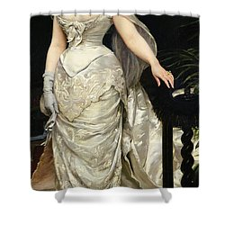Portrait Of Mademoiselle X Shower Curtain by Charles Emile Auguste Carolus Duran