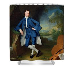 Portrait Of Man Shower Curtain by George Romney