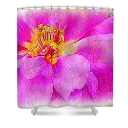 Portulaca With Texture Shower Curtain by Judi Bagwell