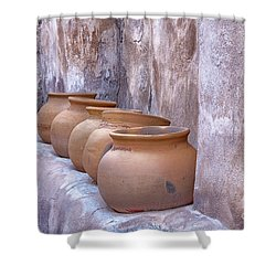 Pottery Of The Past Shower Curtain by Sandra Bronstein