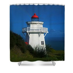 Shower Curtain featuring the photograph Pouto Lighthouse With Rainbow New Zealand by Mark Dodd