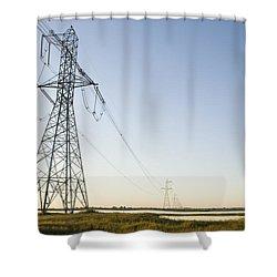 Powerlines Jepson Prairie Preserve Shower Curtain by Sebastian Kennerknecht
