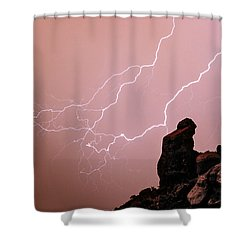 Praying Monk Camelback Mountain Lightning Monsoon Storm Image Shower Curtain by James BO  Insogna