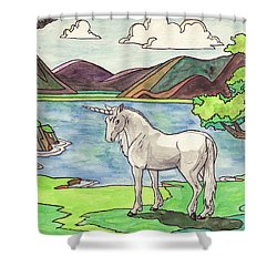 Prehistoric Unicorn Shower Curtain by Crista Forest