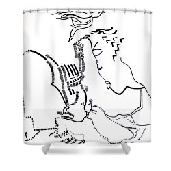 Shower Curtain featuring the drawing Presentation Of Jesus In The Temple by Gloria Ssali
