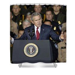 President George W. Bush Speaks Shower Curtain by Stocktrek Images