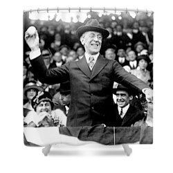 President Woodrow Wilson Throws Throws The First Pitch On Opening Day - C 1916 Shower Curtain by International  Images