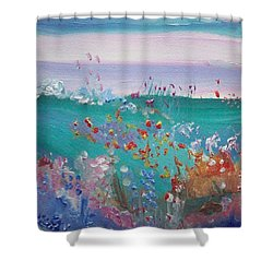Shower Curtain featuring the painting Pretty Garden by Judith Desrosiers