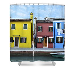 Shower Curtain featuring the photograph Primary Colors In Burano Italy by Rebecca Margraf