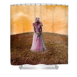 Princess In Gas Mask Shower Curtain by Jill Battaglia