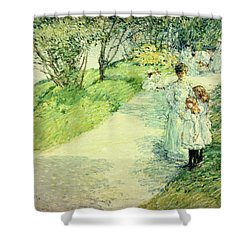 Promenaders In The Garden Shower Curtain by Childe Hassam