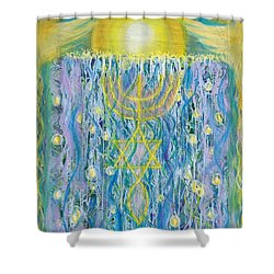 Prophetic Message Sketch Painting 26 Elohim Elohim Latter Rain Shower Curtain