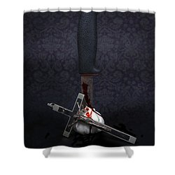 Protection Against Vampires Shower Curtain by Joana Kruse