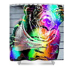 Psychedelic Black Lab With Kerchief Shower Curtain by Barbara Griffin