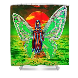 Psychedelic Butterfly Shower Curtain by Matthew Lacey