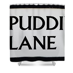 Pudding Lane Shower Curtain by Dawn OConnor