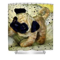 Pug On Pillow Shower Curtain by Susan Savad
