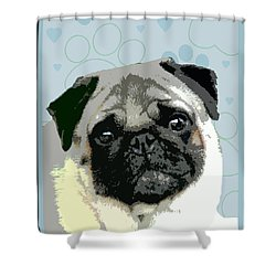 Pug Shower Curtain by One Rude Dawg Orcutt