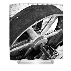Pulley Wheel From Industrial Sawmill Shower Curtain by Paul Velgos