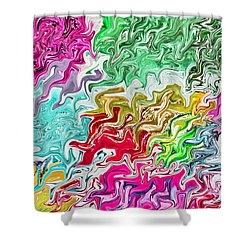Pulling Colors Abstract Shower Curtain by Debbie Portwood