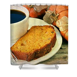 Pumpkin Bread And Coffee Shower Curtain by Darren Fisher
