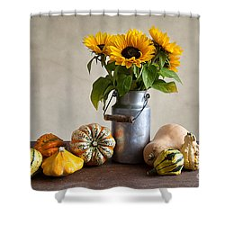 Pumpkins And Sunflowers Shower Curtain by Nailia Schwarz