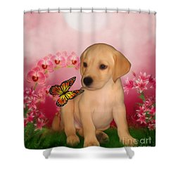 Puppy Innocence Shower Curtain by Smilin Eyes  Treasures