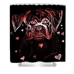 Puppy Love Shower Curtain by Maria Urso