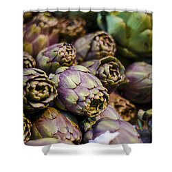 Purple Artichokes At The Market Shower Curtain by Heather Applegate