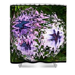 Purple Daisies World - Abstract Art Shower Curtain by Carol Groenen