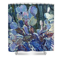 Shower Curtain featuring the painting Purple Opuntia by Donald Maier