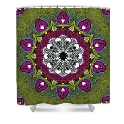 Shower Curtain featuring the digital art Purple Snakeskin Flower by Alec Drake