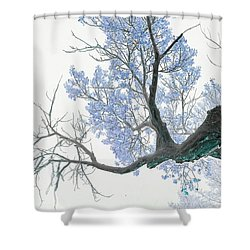 Purple Tree 1 Shower Curtain by Rebecca Margraf