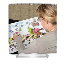 Puzzle Therapy Shower Curtain by Photo Researchers, Inc.