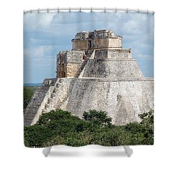 Pyramid Of The Magician At Uxmal Mexico Shower Curtain by Shawn O'Brien