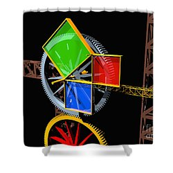 Pythagorean Machine Landscape 1 Shower Curtain by Russell Kightley